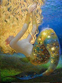 Mermaid by Victor Nizovtsev I mistook this for a Gustav Klimt! Gustav Klimt, Art And Illustration, Mermaid Illustration, Victor Nizovtsev, Mermaids And Mermen, Merfolk, Art Moderne, Art Plastique, Mythical Creatures