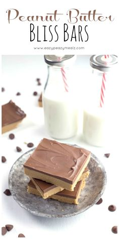 Peanut Butter Bliss Bars.. Ingredients: 2 cups finely ground graham cracker crumbs, 2 cups powdered sugar, 1 cup melted butter, 1 cup + 4 tablespoons peanut butter, 1½ cups semi-sweet chocolate chips. Click link for recipe instructions.