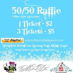 Purchase raffle tickets from The Modified Dolls - Washington State Chapter to get a chance to win 50% of the money they raise and support their Tacoma Special Olympics Washington Polar Plunge Team! For more info visit the WA Dolls` Facebook page: https://www.facebook.com/wamodifieddolls  #modifieddolls #WAdolls#modifiedwomen #supporting #charities #fundraising #inaidof #SpecialOlympics #PolarPlunge #Facebook #online #auction