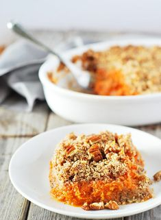 Fluffy sweet potato souffle, flavored with maple syrup, ginger and cardamom. Perfect side dish to grace your holiday table. Vegan,Gluten-Free,Refined Sugar Free: