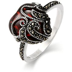 Garnet Glass Heart Sterling Silver Marcasite Ring   Eve's Addiction® ($39) ❤ liked on Polyvore