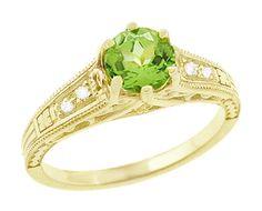 Art Deco Filigree Peridot and Diamond Engagement Ring in 14 Karat Yellow Gold