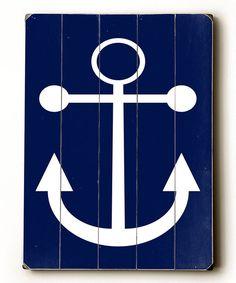 Navy Anchor Wood Wall Art
