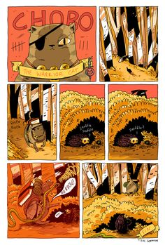 """""""Chobo: The Warrior Cat"""". Story and art by Zac Gorman, for Josh Tierney's """"Spera"""" series of online comics and graphic novels. http://spera-comic.com/"""