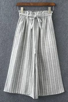 Striped Elastic Waist Drawstring High Waist Wide Leg Pant