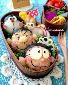 ドラえもんから〜トリオのお弁当♡作り方 の画像|゚*.。.*゚Haママ手作りDiary*.。.*゚*. Cute Lunch Boxes, Bento Box Lunch, Lunch Snacks, Bento Recipes, Lunch Box Recipes, Bento Tutorial, Food Art For Kids, Sushi Art, Kawaii Bento