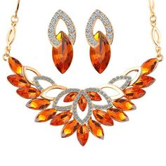 Gold Crystal Flower Necklace Jewelry Sets Mother's Day Gift Idea Party Women African Beads Bridal Earrings Accessories
