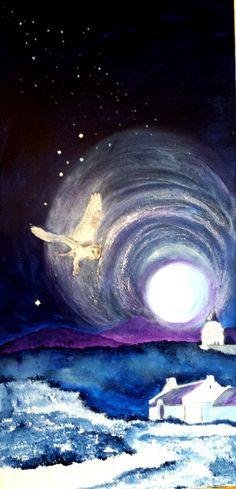Barn Owl & Full Moon in McGregor Full Moon, Owl, Barn, Waves, Paintings, Outdoor, Harvest Moon, Outdoors, Paint