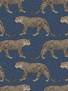 This stunning Leopard Wallpaper would make a unique and stylish feature in your home. The design features a repeat pattern of beautifully detailed leopards in metallic gold, set on a leopard print patterned background in tones of navy blue. Easy to apply, this high quality wallpaper has a beautiful metallic sheen finish and will look great when used to decorate a whole room or to create a feature wall. This colourway is exclusive to World of Wallpaper and can not be found on the high street. Geometric Wallpaper Metallic, Leopard Wallpaper, Wallpaper Uk, Animal Print Wallpaper, Feature Wallpaper, Luxury Wallpaper, Contemporary Wallpaper, Paper Wallpaper, Leopard Print Background