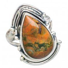 925 SOLID SETRLING FINE SILVER Rainforest Opal Rings