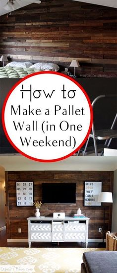 DIY Home Improvement On A Budget - Make A Pallet Wall - Easy and Cheap Do It Yourself Tutorials for Updating and Renovating Your House - Home Decor Tips and Tricks, Remodeling and Decorating Hacks - DIY Projects and Crafts by DIY JOY http://diyjoy.com/diy-home-improvement-ideas-budget #RemodelingTips #easyhomedecor
