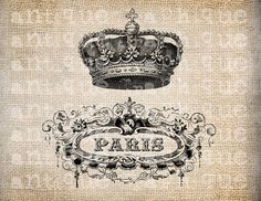 Antique Paris French Crown Illustration  Digital Download for Papercrafts, Transfer, Pillows, etc Burlap No 2569