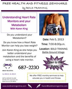 Come to this FREE Seminar the 1st Tuesday in February and see why Heart Rate Monitors are so important with your workouts