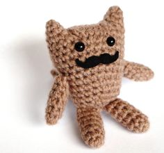 Small Beige Moustache Cat Crochet Amigurumi Plush by Artbyekaty, £8.50