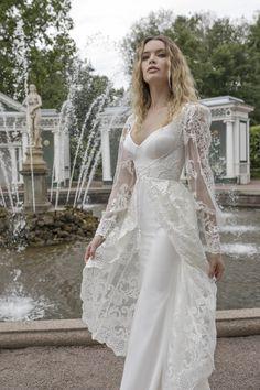 a7e69e0ca72 lian rokman 2018 bridal long sleeves ballerina neckline simple full  embellishment elegant sheath wedding dress a line overskirt lace back sweep  train zv ...