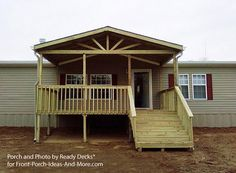 Mobile Home Front Porch Design (By Ready Decks®) with gable design and open rafters for Front Porch Ideas