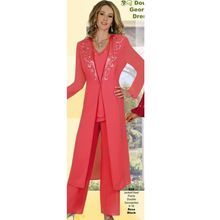 Exquisite Mother of the Bride/Groom Pant Suits Beaded Chiffon Wedding Party Formal Evening Gowns 2016 with Long Sleeves Jacket(China (Mainland))