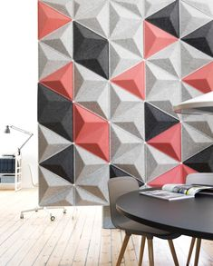 Scala is made of an acoustic pressed felt which helps create a softer soundscape within the office. Scala is available as a wall panel or suspeneded acoustic ceiling canopy. Acoustic Wall Panels, 3d Wall Panels, Office Walls, Office Decor, Acustic Panels, 3d Wandplatten, Acoustic Baffles, Acoustic Design, Indoor Outdoor Furniture