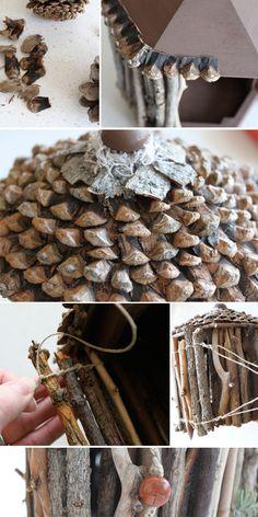 DIY FAIRY HOUSE - full tutorial - using pine cones for shingles!
