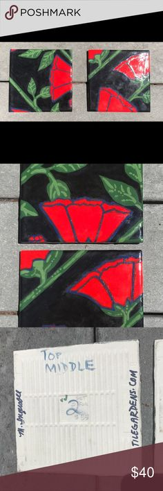 Beautiful 2 piece Hand painted tiles Set of 2 tiles.  Hand painted.  Gorgeous red blue black and green combo.  Can be a wall adornment or counter surface. Other
