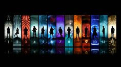 Doctor Who The Doctor TARDIS John Hurt Christopher Eccleston David Tennant Matt Smith Peter Capaldi Tom Baker Wallpaper