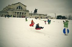 Sledding down Art Hill in front of the St. Louis Art Museum!