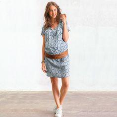 Vestido evolutivo estampado, para a gravidez e a amamentação