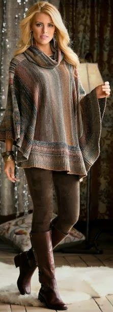 Love the poncho brown sweater with a design, brown Leggins and brown boots, perfect for fall