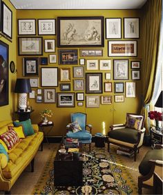 interior designer Bill Brockschmidt and architect Richard Dragisic | gallery wall. This and a whole wall filled with books. Bliss.