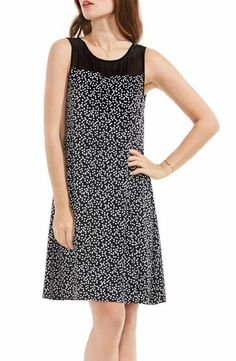 Vince Camuto Sheer Yoke Dot A-Line Dress
