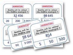 Des cartes à tâches en numération sur la valeur des chiffres