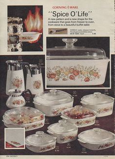 """Corning Ware """"Spice O'Life"""" Pattern from the Eaton's Christmas Catalog, 1973 - My mom had some of this."""