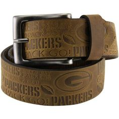 Green Bay Packers Crazy Horse Embossed Slogan Leather Belt - Brown