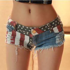 Mid Waist Jeans Shorts 2016 Women New Fashion USA Flag Printed Denim Shorts Skinny Hot Hole Short Pants S-XXL