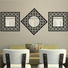 Threshold™ Lattice Square Mirror - Black Could work above the TV unit..