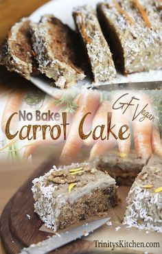 An absolutely delicious no-bake, raw carrot cake recipe from 'way back when'. #glutenfree #plantbased #rawvegan #vegan #sugarfree #wheatfree