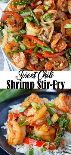 Sweet Chili Shrimp Stir Fry Easy Recipe - Butter Your Biscuit This Sweet Chili Shrimp Stir Fry Recipe is full of sauteed shrimp, onions, red peppers, and asparagus, tossed in a sweet and spicy sauce. Shrimp Stir Fry Easy, Easy Stir Fry, Seafood Stir Fry, Spicy Stir Fry Sauce, Stir Fry Recipes, Healthy Recipes, Asian Recipes, Chinese Recipes, Ramen