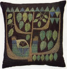 Vintage Swedish Embroidery folk art,folk lore woodland vintage design for soft furnishings or clothes grimm and fairy style