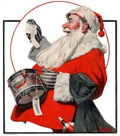 Norman Rockwell painting of Santa Claus