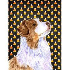 Caroline's Treasures Australian Shepherd Candy Corn Halloween Portrait 2-Sided Garden Flag