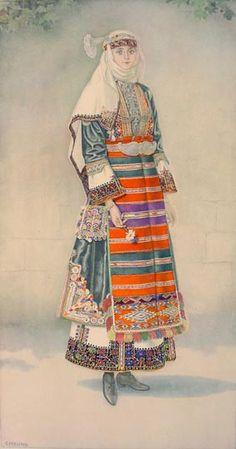 From Kapoutsides (Greek Macedonia). Greek Traditional Dress, Traditional Outfits, Macedonia Greece, Costumes Around The World, Greek History, Costume Collection, Ethnic Dress, Folk Costume, Ancient Greece