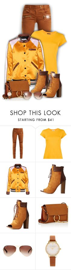 """Brown & Yellow!"" by asia-12 ❤ liked on Polyvore featuring Balmain, RE/DONE, Coach, Liliana, Chloé, Ray-Ban, Olivia Burton and DIVA"