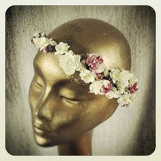 Emmeline. A stunning flower crown packed with roses and rosebuds. The asymmetric style of this hair garland would work well with a side braid. Handmade by www.bloomingloopy.com