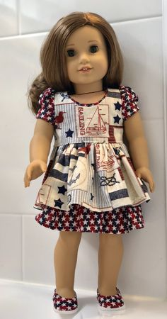 "HANDMADE FITS 18/"" AMERICAN GIRL DOLL CLOTHES PATRIOTIC STARS Pillowcase Dress"