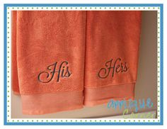 His Her Script Formal Embroidery Design