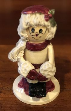 Rare NC Piney Woods Pottery Mrs. Santa Claus Sitting Holly 2005 Collection JGM  #WHIMSICAL