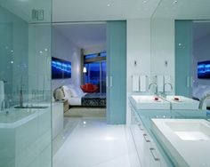 Love the glass counter (and the sliding glass doors, but I don't think the budget will cover those) Bathroom Inspiration, Interior Inspiration, Design Inspiration, Contemporary Bathtubs, Wet Style, New Project Ideas, Sliding Glass Door, Glass Doors, Bed & Bath