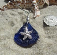 Nothing better than cobalt sea glass~ except when it's in a pendant!