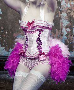 PINK LADY Burlesque Costume Corset Showgirl Halloween dress, gloves, frilly undies included