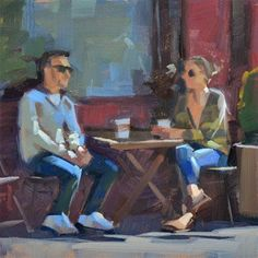 "Daily Paintworks - ""Coffee Date"" - Original Fine Art for Sale - © Carol Marine Painting People, Figure Painting, Figure Drawing, Coffee Date, Fine Art Auctions, Couple Art, Fine Art Gallery, Painting Frames, Art For Sale"